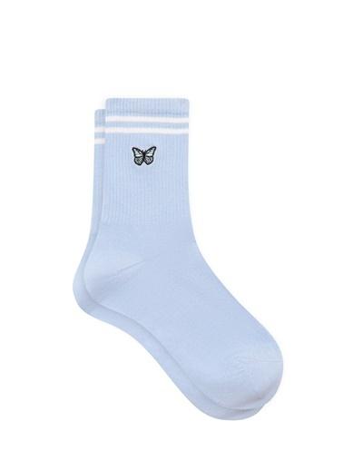 Mavi Kelebek İşlemeli Mavi Soket Çorap Mavi